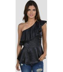 blusa satinada casual negro exotik
