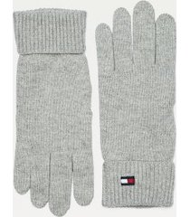 tommy hilfiger women's classic cotton gloves mid grey heather -