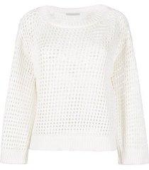 fabiana filippi boat neck sweater in cotton webbing with mesh knit