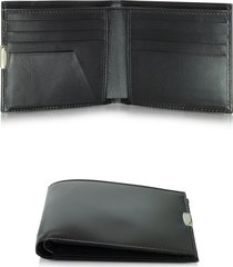 pineider designer men's bags, 1949 small black leather men's wallet