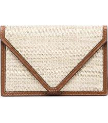 hunting season leather trimmed envelope clutch bag - neutrals