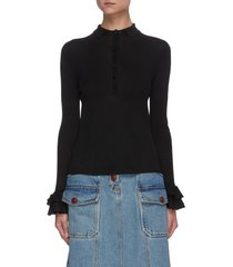 henley button ruffle cuff sweater