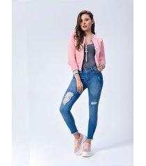pantalón jeans dama azul rotos di bello jeans ® classic jeans ref j524