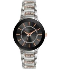 geoffrey beene women's silver-tone rose gold metal alloy bracelet watch, 32 mm