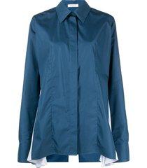 nina ricci long-sleeved godet shirt - blue