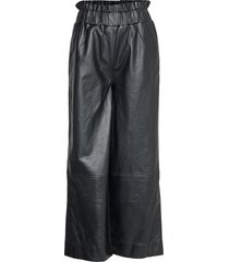lamb leather pants wijde broek zwart ganni