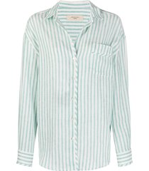 weekend max mara striped-print long-sleeved shirt - green