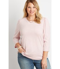 maurices plus size womens 24/7 light pink puff 3/4 sleeve tee purple
