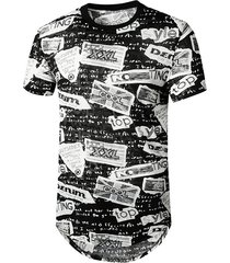 letter grafitti semi sheer longline curved t shirt