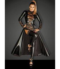 * noir handmade wetlook mantel divaliciaous met eco-lederen delen