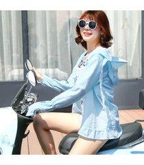 d501-a long-sleeved sun protection uv mantón camiseta femenina