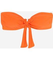 womens havana a good time tie bandeau bikini top - tangerine
