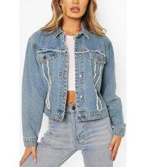 frayed cropped jean jacket, mid blue