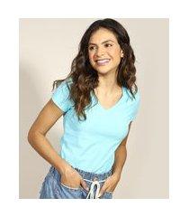 camiseta flamê de algodão básica manga curta decote v azul claro