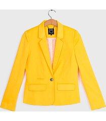 blazer io liso satinado amarillo - calce ajustado