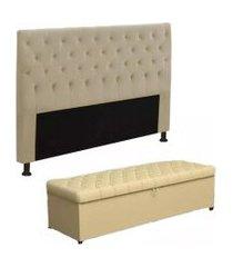 cabeceira mais calçadeira baú casal queen 160cm para cama box sofia corino bege - ds móveis