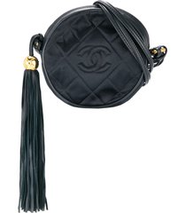 chanel pre-owned 1989-1991 cc fringe shoulder bag - black