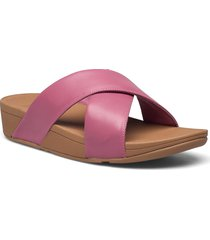 lulu cross slide sandals - leather shoes summer shoes flat sandals rosa fitflop