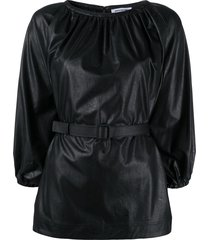 brognano belted faux leather top - black