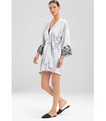 lolita robe, women's, grey, 100% silk, size m, josie natori