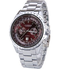 curren / 8053 calendario para hombres reloj steel strip