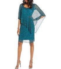 women's pisarro nights beaded cape dress, size 2 - blue