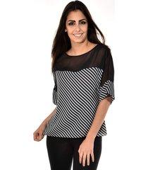 blusa manga curta banca fashion casual chique preto