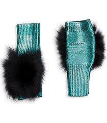 metallic fox fur fingerless mittens