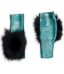 metallic fox fur fingerless mittens