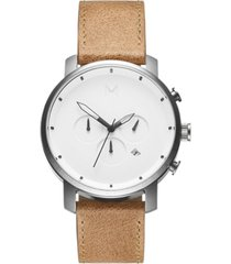 mvmt men's chrono caramel leather strap watch 45mm