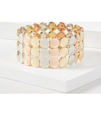 lane bryant women's beaded stretch bracelet - tri-tone onesz mixed metal