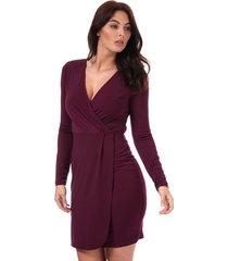 womens long sleeve slinky wrap dress