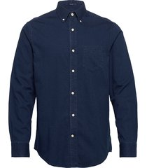 d1. indigo diamond dobby reg bd overhemd casual blauw gant