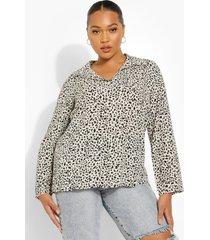 plus oversized blouse met stippen, stone