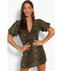 luipaardprint jurk met v-hals en pofmouwen, kaki