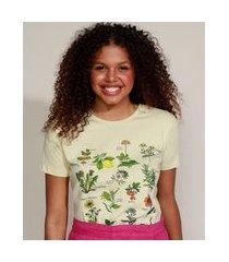 t-shirt feminina mindset botânica manga curta decote redondo amarelo claro