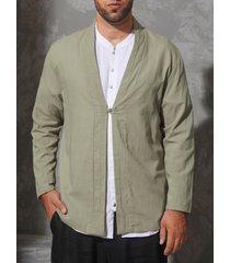 cárdigan delantero con botones de abrigo verde liso casual para hombre