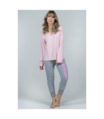pijama feminino serra e mar modas gola v calça jogger moletom rosa
