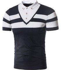 camiseta de manga corta de tops hombre verano con solapa de solapa