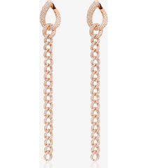 shay 18kt rose gold long-chain pavé drop earrings