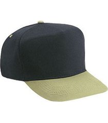 otto brushed cotton blend twill five panel high crown baseball cap (color-kha/bl