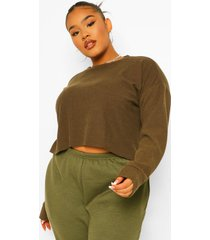 plus geribbelde oversized crop top, khaki