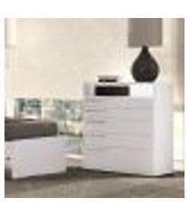 cômoda 5 gavetas e nicho s725 kappesberg - branco brilho