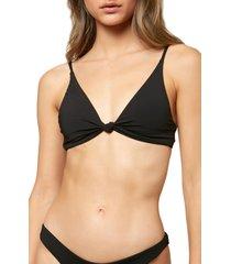 women's o'neill pismo saltwater solid bikini top, size small - black