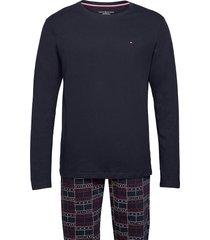 cn ls pant jersey set print pyjama blauw tommy hilfiger