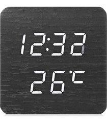 reloj de alarma de led de madera digital temporizador de-