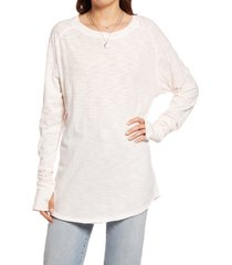 women's free people arden extra long cotton top, size large - pink
