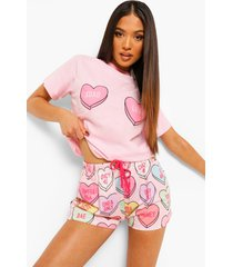 petite love hartjes pyjama set met shorts, pink