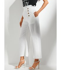 yoins bolsillos laterales blancos pantalones de cintura alta
