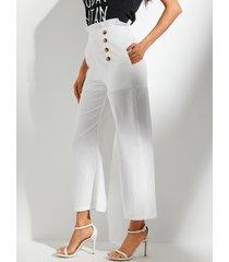 yoins bolsillos laterales blancos de cintura alta pantalones